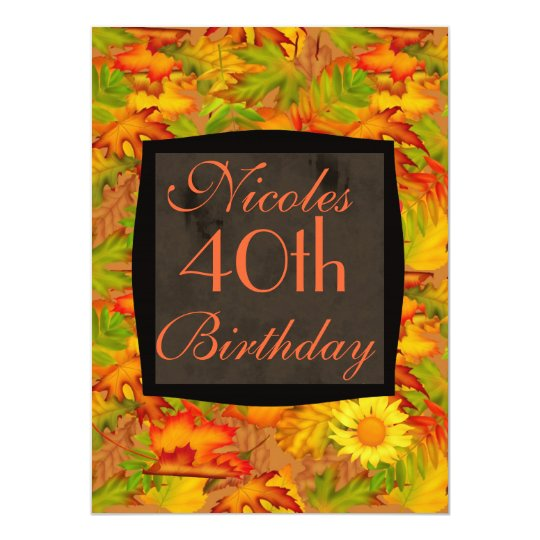 40TH BIRTHDAY FALL INVITATION