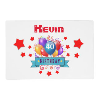 40th Birthday Festive Colorful Balloons C01CZ Placemat