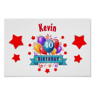 40th Birthday Festive Colorful Balloons C01CZ Poster