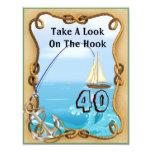 "40th Birthday Fishing Invitations for MEN 4.25"" X 5.5"" Invitation Card"