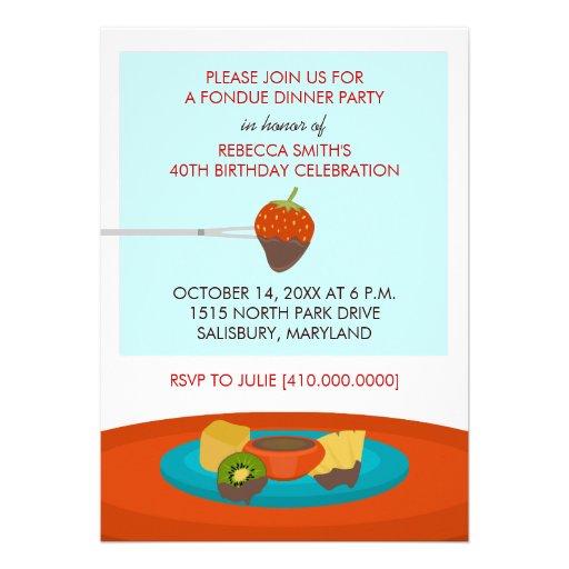 "40th Birthday Dinner Ideas: 40th Birthday Fondue Dinner Party Invitations 5"" X 7"