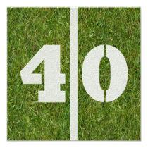 "40th Birthday Football Party Invitation 5.25"" Square Invitation Card"
