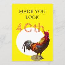 40th Birthday Fun Chicken Rooster Male Invitation