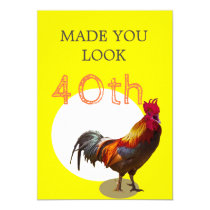 40th Birthday Fun Chicken Rooster Male Invitation