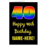 [ Thumbnail: 40th Birthday: Fun, Colorful, Happy, Rainbow # 40 Card ]