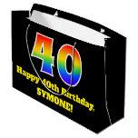 [ Thumbnail: 40th Birthday ~ Fun, Colorful, Vibrant, Rainbow 40 Gift Bag ]