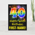 [ Thumbnail: 40th Birthday: Fun Fireworks Pattern + Rainbow 40 Card ]