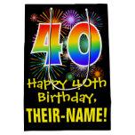 [ Thumbnail: 40th Birthday: Fun Fireworks Pattern + Rainbow 40 Gift Bag ]