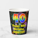 [ Thumbnail: 40th Birthday: Fun Fireworks Pattern + Rainbow 40 ]