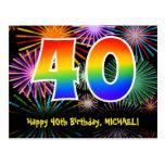 [ Thumbnail: 40th Birthday – Fun Fireworks Pattern + Rainbow 40 Postcard ]