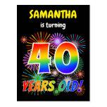 "[ Thumbnail: 40th Birthday - Fun Fireworks, Rainbow Look ""40"" Postcard ]"