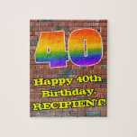 [ Thumbnail: 40th Birthday: Fun Graffiti-Inspired Rainbow 40 Jigsaw Puzzle ]