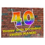 [ Thumbnail: 40th Birthday: Fun, Graffiti-Inspired Rainbow # 40 Gift Bag ]