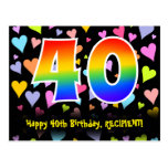 [ Thumbnail: 40th Birthday: Fun Hearts Pattern, Rainbow 40 Postcard ]