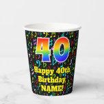 [ Thumbnail: 40th Birthday: Fun Music Notes Pattern, Rainbow 40 ]