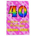 [ Thumbnail: 40th Birthday: Fun Pink Hearts Stripes; Rainbow 40 Gift Bag ]