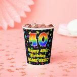 [ Thumbnail: 40th Birthday: Fun Stars Pattern and Rainbow 40 ]