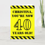[ Thumbnail: 40th Birthday: Fun Stencil Style Text, Custom Name Card ]