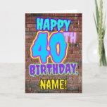 [ Thumbnail: 40th Birthday - Fun, Urban Graffiti Inspired Look Card ]