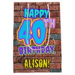 [ Thumbnail: 40th Birthday: Fun, Urban Graffiti Inspired Look Gift Bag ]