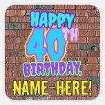 [ Thumbnail: 40th Birthday – Fun, Urban Graffiti Inspired Look Sticker ]