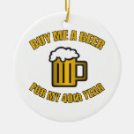 40th Birthday Funny Beer Christmas Ornament