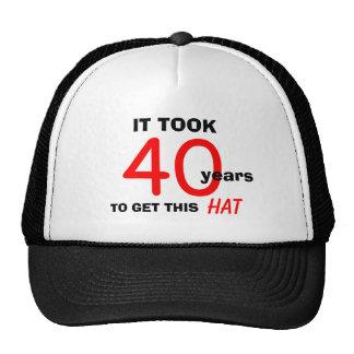 40th Birthday Gag Gifts Hat for Men
