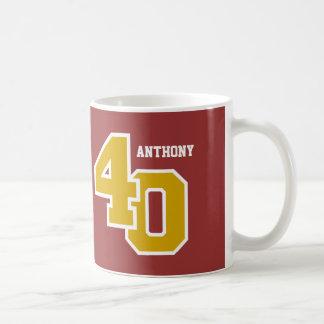 40th Birthday GOLD and SCARLETT RED V007 Coffee Mug