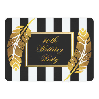 40th Birthday Gold Feather on Black White Stripes Card
