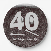 40th Birthday Golf Tee it high. Let it fly Golfer Paper Plate
