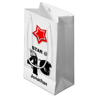 40th Birthday Grunge Text Layered RED Star J40Z Small Gift Bag