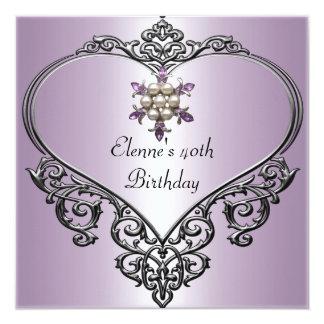 40th Birthday Heart Soft Mauve Purple Pearl jewel Card