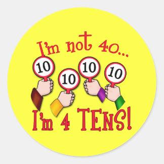 40th Birthday Humor T shirt Classic Round Sticker