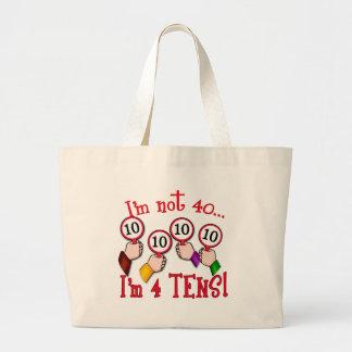 40th Birthday Humor T shirt Large Tote Bag