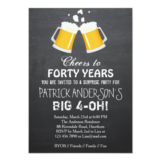 40th Birthday Invitation Beer 40th Birthday Zazzlecom