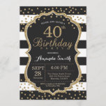 """40th Birthday Invitation. Black and Gold Glitter Invitation<br><div class=""""desc"""">40th Birthday Invitation for women or man. Black and Gold Birthday Party Invite. Gold Glitter Confetti. Black and White Stripes. Printable Digital. For further customization,  please click the """"Customize it"""" button and use our design tool to modify this template.</div>"""