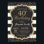 "40th Birthday Invitation. Black and Gold Glitter Invitation<br><div class=""desc"">40th Birthday Invitation for women or man. Black and Gold Birthday Party Invite. Gold Glitter Confetti. Black and White Stripes. Printable Digital. For further customization,  please click the ""Customize it"" button and use our design tool to modify this template.</div>"
