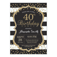 40th birthday for women invitations announcements zazzle 40th birthday invitation black and gold glitter filmwisefo
