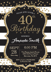 40th birthday invitations zazzle