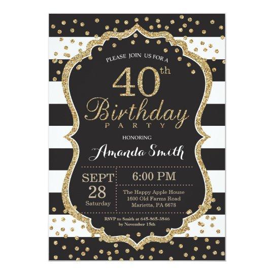 40th birthday invitation black and gold glitter invitation zazzle 40th birthday invitation black and gold glitter invitation filmwisefo