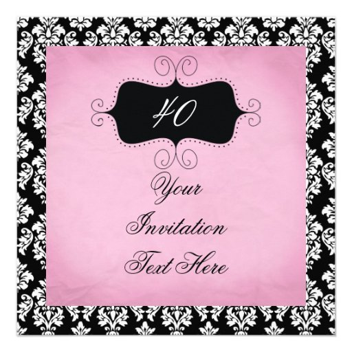 40th Birthday Invitation Black and Pink Damask