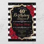 "40th Birthday Invitation Black White Stripes Roses<br><div class=""desc"">40th Birthday Invitation Elegant black white red design with faux glitter. Black and white stripes with red roses. Perfect for an elegant birthday party.</div>"