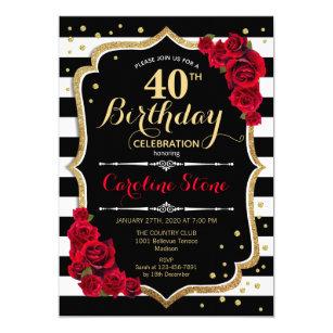 40th Birthday Invitation Black White Stripes Roses