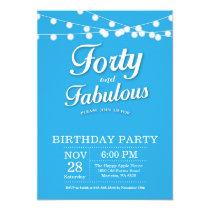 40th Birthday Invitation Blue Fabulous