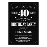 40th Birthday Invitation Chalkboard