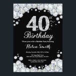 "40th Birthday Invitation Chalkboard Silver Diamond<br><div class=""desc"">40th Birthday Invitation. Silver Rhinestone Diamond Chalkboard Background. Elegant Birthday Bash invite. Black and White. Adult Birthday. Women Birthday. Men Birthday. For further customization,  please click the ""Customize it"" button and use our design tool to modify this template.</div>"