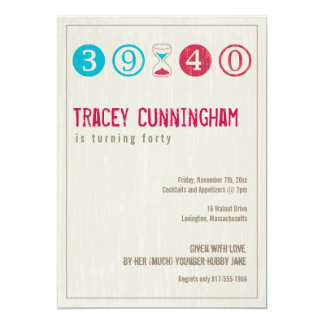 "40th Birthday Invitation - Customize 5"" X 7"" Invitation Card"