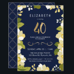"""40th Birthday Invitation, Customize Floral w/ Gold Invitation<br><div class=""""desc"""">This elegant and classy fortieth birthday invitation features an illustrated floral border and the number """"40"""" in gold. The background is a navy blue color, but can be customized to any color you choose. The back of the invite includes a gold quatrefoil pattern with a matching blue background that can...</div>"""