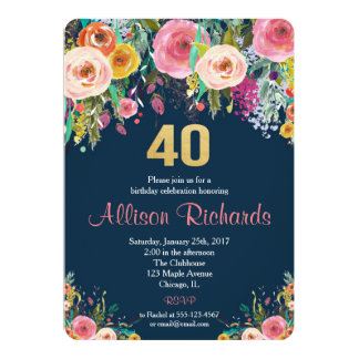40th birthday invitation floral watercolor navy