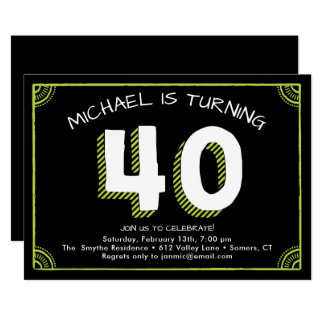 40th Birthday Invitation, Green Card